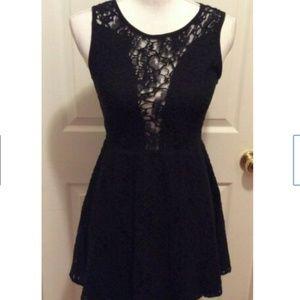 For Love & Lemons Dress S Black Sheer Lace Neck